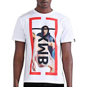 Color Block Abstract Figure Print Novelty T-Shirts