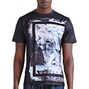 Round Neck Stylish 3D Abstract Flower Print Short Sleeve T-Shirt For Men - Colormix - L