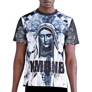 3D Character and Letter Printing Round Neck Short Sleeves T-Shirt For Men