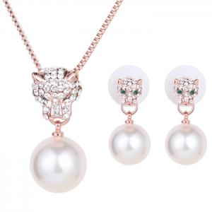 A Suit of Graceful Faux Pearl Leopard Necklace and Earrings For Women - White