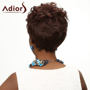 Ladylike Side Bang Heat Resistant Fiber Fashion Short Fluffy Curly Deep Brown Wig For Women - DEEP BROWN