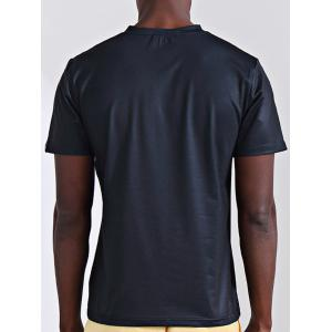 Round Neck Stylish 3D Letter and Muscle Man Print Short Sleeve T-Shirt For Men -