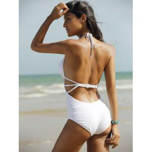 Fashion Halter High Waisted Cut Out One Piece Swimwear For Women -