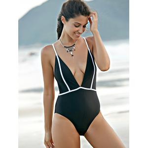 Trendy Plunging Neck High Waisted Backless One Piece Swimwear For Women - BLACK M