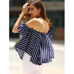 Sweet Off-The-Shoulder Striped T-Shirt For Women -