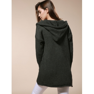 Long Sleeve Pockets Hooded Knit Cardigan - OLIVE GREEN ONE SIZE