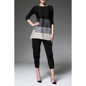 Creased Color Block Tunic Top