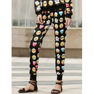 Fashionable Emoji Print Drawstring Pants For Women - Black - M
