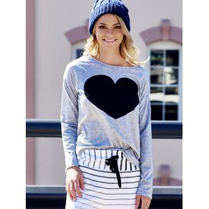 Women's Heart Pattern T-Shirt Long Sleeve Crew Neck Tops -