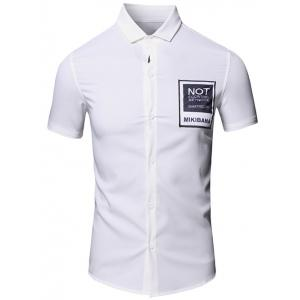 Simple Turn-Down Collar Letter Printed Pocket Design Short Sleeves Shirt For Men