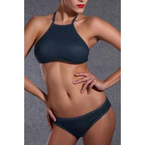 Stylish High Neck Backless Black Bikini Set For Women