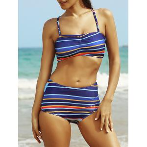 Crisscross Striped High Waisted Bandeau Bikini Set