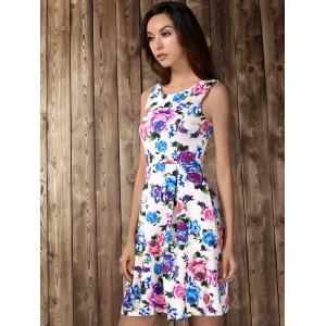 Retro Style High Waisted Floral Print Dress - WHITE S