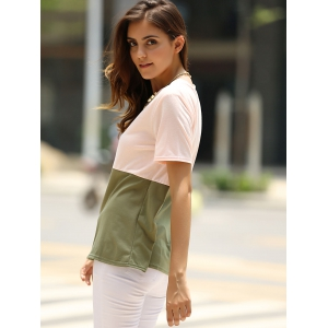 Brief Round Neck Color Block T-Shirt For Women -