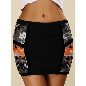 Sequins Tight Mini Skirt - BLACK S