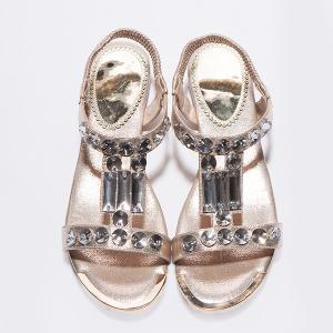 Casual Metal Colour and Rhinestones Design Sandals For Women -