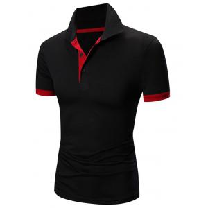 Laconic Turn-down Collar Color Block Short Sleeves Polo T-Shirt For Men