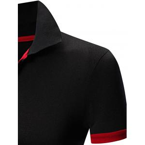Laconic Turn-down Collar Color Block Short Sleeves Polo T-Shirt For Men - RED/BLACK XL