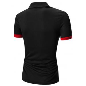 Laconic Turn-down Collar Color Block Short Sleeves Polo T-Shirt For Men - RED WITH BLACK XL