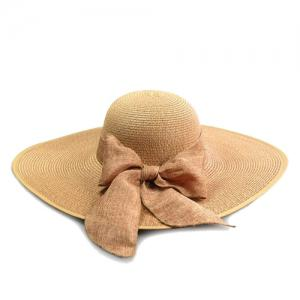 Chic Bow Lace-Up Wide Brim Hot Summer Anti-UV Straw Hat For Women -
