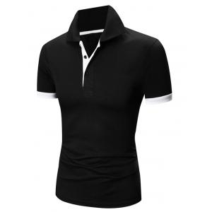 Laconic Turn-down Collar Color Block Short Sleeves Polo T-Shirt For Men - White And Black - Xl
