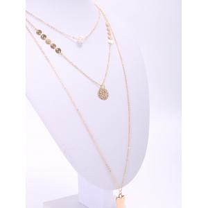 Faddish Solid Color Faux Pearl Multideck Tassel Necklace For Women - GOLDEN
