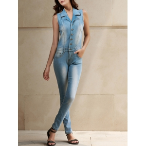 Stylish Turn-Down Collar Sleeveless Bleach Wash Denim Jumpsuit For Women - Blue - S