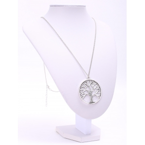 Trendy Solid Color Tree Shape Pendant Sweater Chain Necklace For Women - SILVER