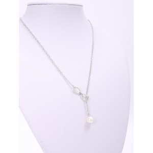 Trendy Solid Color Faux Pearl Embellished 8 Shape Necklace For Women - LAKE BLUE
