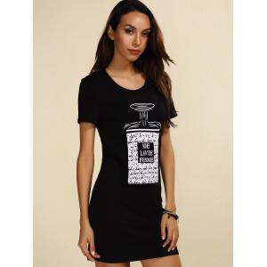 Short Sleeve Print Casual T-Shirt Dress - BLACK S