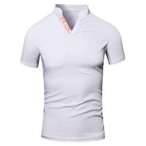 Fashion Men's Turn-Down Collar Letter Print Short Sleeve Polo T-Shirt