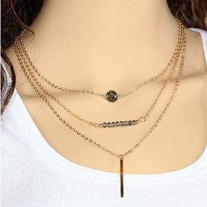 Alloy Geometric Shape Multilayered Pendant Necklace