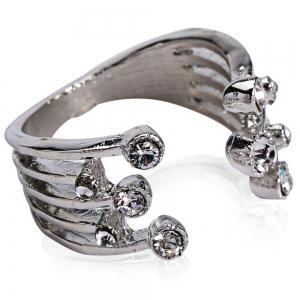 Punk Rhinestoned Cuff Ring - White Golden - One-size