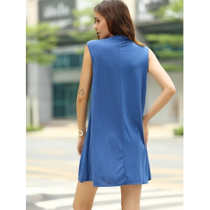 Stylish Keyhole Neckline Sleeveless Solid Color Dress For Women -