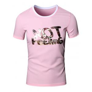 Round Neck Slimming 3D Letters Printed Short Sleeve T-Shirt For Men