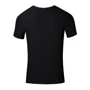 Round Neck Slimming 3D Letters Printed Short Sleeve T-Shirt For Men - BLACK L