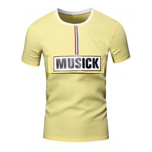 Personality Men's Round Neck Letter Patch Short Sleeve Joker T-Shirt - Yellow - Xl