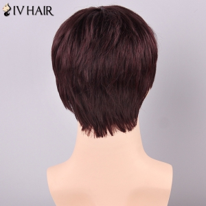 Siv Hair Men's Straight Full Bang Human Hair Wig - DARK AUBURN BROWN