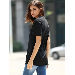 Fashionable Low-Cut U Neck Solid Color Short Sleeve T-Shirt For Women -