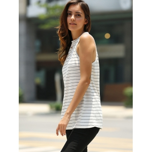 Fashionable Round Neck Sleeveless Striped T-Shirt For Women -