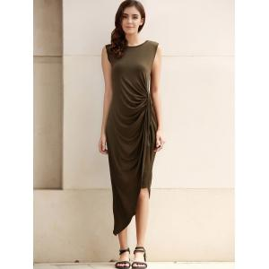 Sexy Sleeveless Solid Color Slit Asymmetric Wrap Pleated Plus Size Dress For Women - ARMY GREEN 3XL