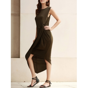 Sexy Sleeveless Solid Color Slit Asymmetric Wrap Pleated Plus Size Dress For Women - Army Green - 3xl