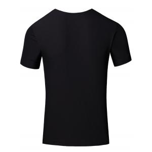 Personality Men's Round Neck Colored Stripes Center Line Short Sleeve T-Shirt - BLACK XL