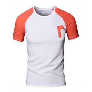 Sporty Men's Round Neck Splicing Short Sleeve T-Shirt