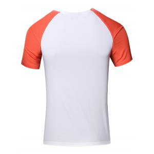 Sporty Men's Round Neck Splicing Short Sleeve T-Shirt - JACINTH L