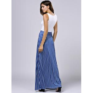 Cropped Tank Top and Striped Pocket Maxi Skirt - BLUE XL