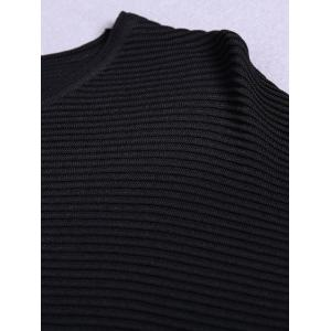 Stylish Round Neck Knitted Solid Color Batwing Sleeve Women's Tee -
