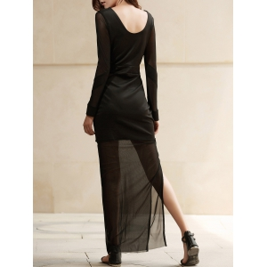 Plunge See Thru Slit Long Maxi Night Out Dress