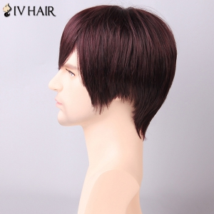 Siv Hair Men's Straight Side Bang Human Hair Wig -