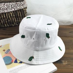 Fresh Style Small Cactus Embroidery Bucket Hat For Women -
